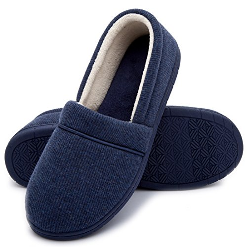 ULTRAIDEAS Womens Velvet Memory Foam Closed Back Slippers Lightweight Anti-Slid Embroidery Ballerina House/Office Shoes Navy Blue-knit E8gxvNq1