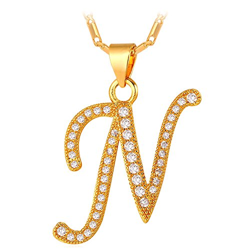 U7 Letter Necklace 18K Gold Plated Cubic Zirconia Iced Out Pendant Monogram Style Initial Necklace, Alphabet N