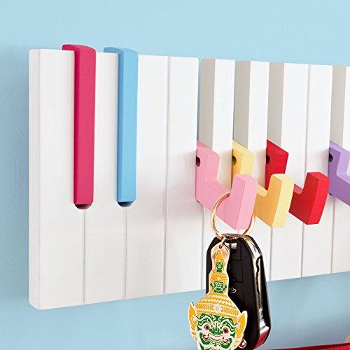 SoBuy® Piano Wandhaken,Garderobenleiste,Wandgarderobe,Kleiderständer,FRG13-L-F (Bunt-L80cm)