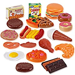 Fast Food & Dessert Mini Play Food Cooking Set for Kids - 30 pieces (Burgers, Donuts, Ice Cream, & more)