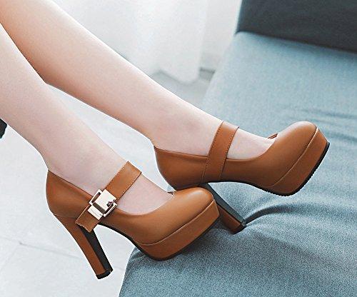 Rétro Janes À Haut Mary Bout Rond Escarpins Talon Brun Lady Femme Chaussures Aisun PnX5x5