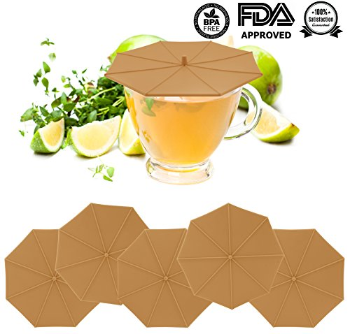 Silicone Cup Lids – umbrella shaped Mug Coffee Cup Caps, Seal Air Tight hot & cold Drink Cup Lids, Tea & wine glass Cup Covers, Spill Proof Suction Lids- set of 5 (Brown)