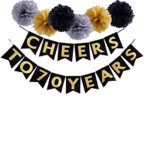 Cheers To 70 Years Banner Birthday Wedding Anniversary Party Decoration Supplies (70th) by Threemart