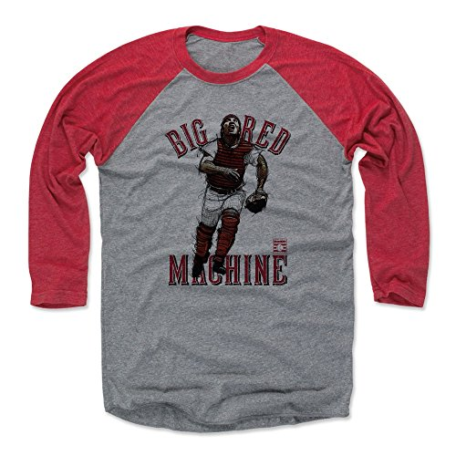 500 LEVEL Johnny Bench Baseball Tee Shirt (Large, Red/Heather Gray) - Cincinnati Reds Raglan Tee - Johnny Bench Big Red R