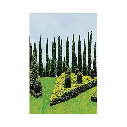 Polyester Garden Flag Outdoor Flag House Flag Banner,Country Home Decor,Classic Formal Designed Garden With Evergreen Shrubs Boxwood Topiaries,for Wedding Anniversary Home Outdoor Garden Decor