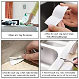 "2 Pack Tape Caulk Strip, PVC Self Adhesive Caulking Sealing Tape for Kitchen Sink Toilet Bathroom Shower and Bathtub, 1-1/2"" x 11' White"