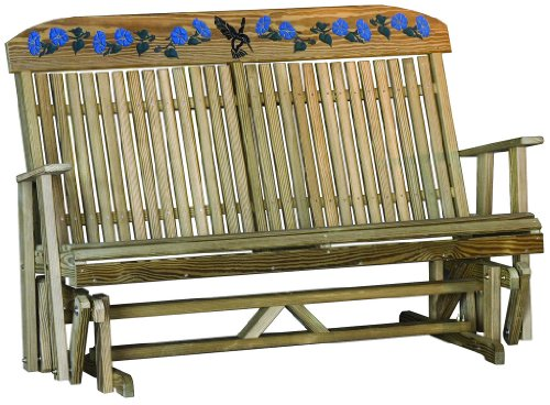 Outdoor 5 Foot Highback Hummingbird Design Porch GliderTreated Pine Amish Made USA For Sale