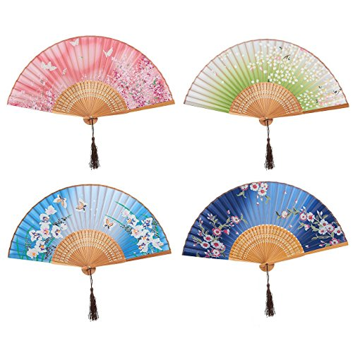 4-Piece Folding Fans - Hand-held Fans for Women, 4 Different Japanese Style Colorful Designs with Butterfly and Floral Illustrations