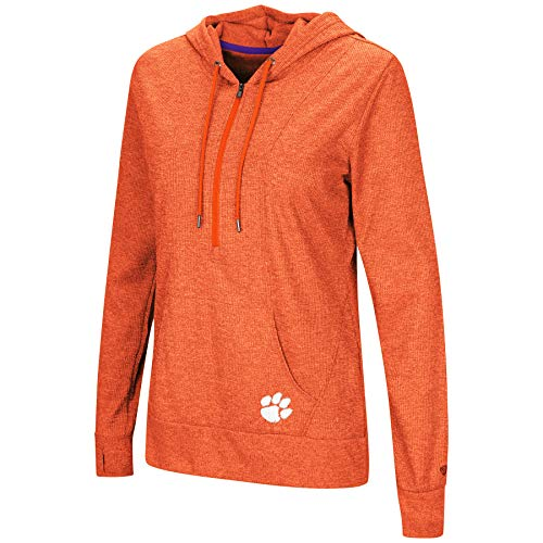 - Colosseum NCAA Women's -Sugar- Casual Waffle Knit 1/2 Zip Hoodie Pullover-Clemson Tigers-Heathered Orange-XL