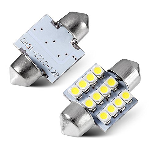 Tinpec 4pcs 31mm Festoon 12SMD LED Interior Dome Map Lights 3022 3021 DE3022 DE3175, White