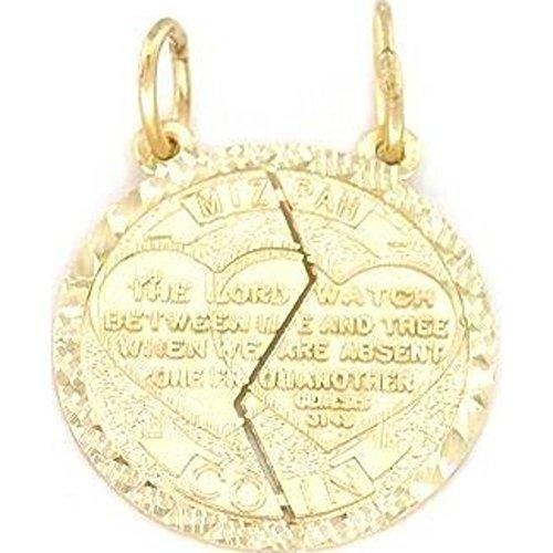14K Gold Mizpah Charm Jewish Friendship Jewelry 18mm