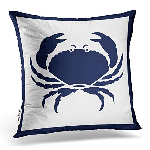Accrocn Square Throw Pillow Covers Outdoor Nautical Crab White Navy Reversable Outdoor Pillowcases Polyester 18 X 18 Inch with Hidden Zipper Home Sofa Cushion Decorative Pillowcase