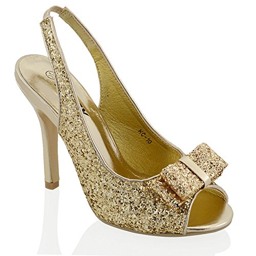 Bow Peep Toe Wedge (Essex Glam Womens Stiletto Sparkly Gold Synthetic Glitter Bridal Slingback Sandals 9 B(M) US)
