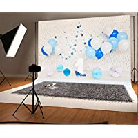 Laeacco Vinyl 7x5ft Photography Background One First Birthday Decoration Blue and White Balloons Paper Flower Ball Alphabet Wallpaper Backdrops Portraits Shoot Camera Studio Props