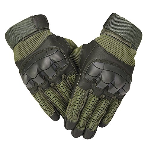 SHAWINGO Tactical Military Airsoft Paintball Gloves Outdoor Gloves for Cycling Motorcycle Hiking Hunting Camping(Olive, M) Olive Paintball Glove