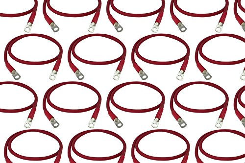 Temco 100 LOT 1 0 Gauge 36in – 5 16 3 8 in Hole Sizes Red Solar Battery Cables Power AWG Solar Inverter Golf Cart Car Glue Sealed
