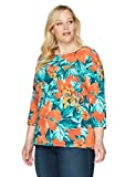 Ruby Rd. Women's Plus Size 3/4 Sleeve Floral Cotton Knit Top