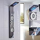 Rozin Ti-Black Bathroom Shower Panel Set LED Rainfall Waterfall Shower Head 5-Function Faucet Rain Massage System with Body Jets