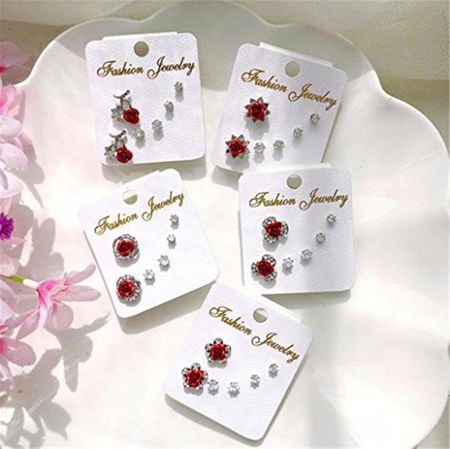 Three-Piece Fashion Rose Earrings Hypoallergenic Zircon Simple Female Ear Jewelry,A-3 by PG-kisseller (Image #1)