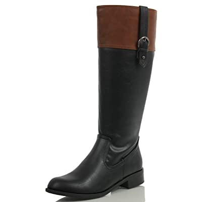 Soda Womens Visa Two Tone Harness Riding Boots | Knee-High