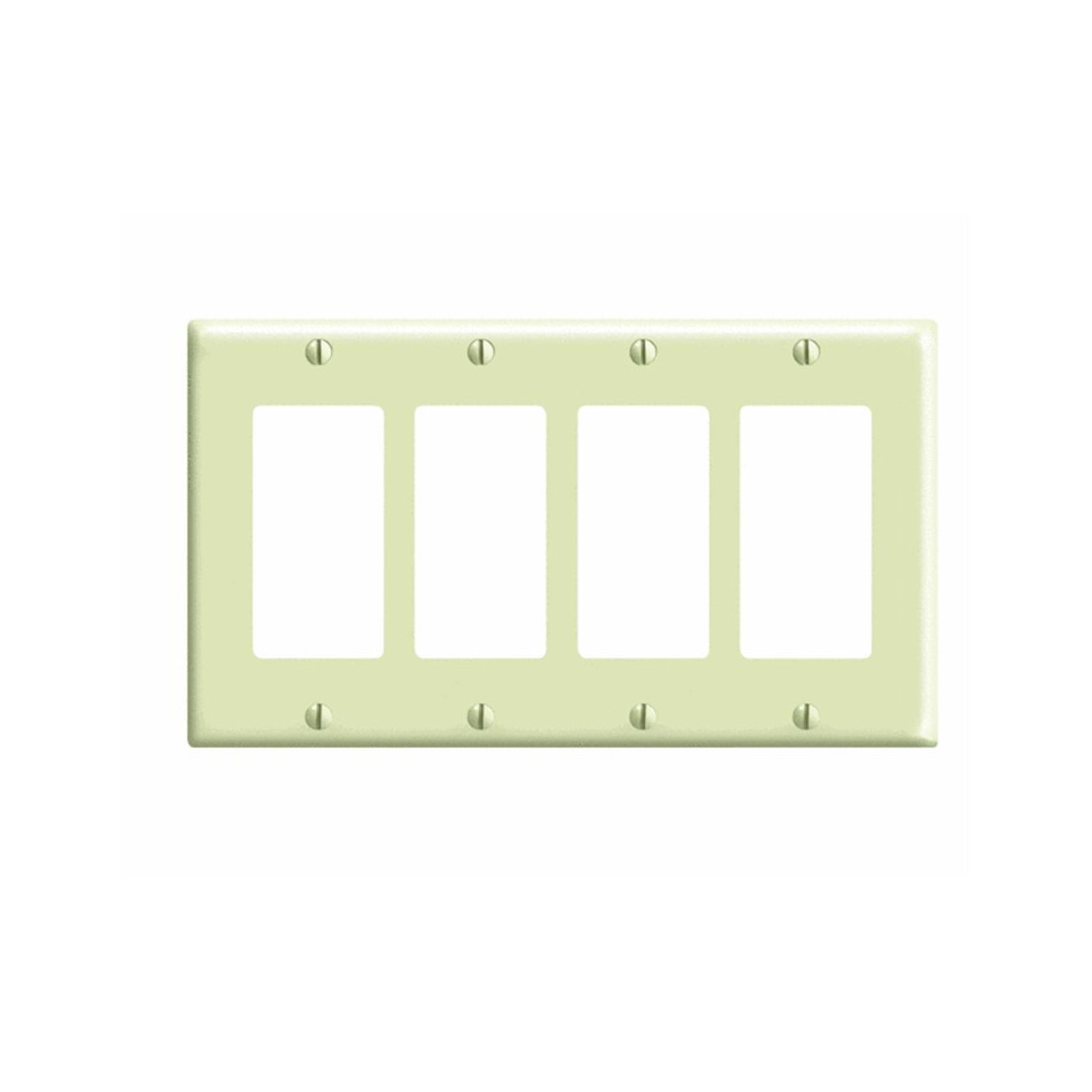 Leviton 80412-I 4-Gang Decora/GFCI Device Decora Wallplate, Standard ...