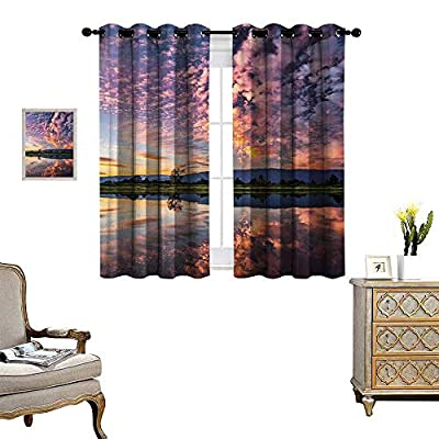 Anyangeight Clouds Blackout Window Curtain Magical Reflection Pink Colored Clouds in Water Mirroring Scenic Weather Activity Picture Customized Curtains W55 x L39 Blue