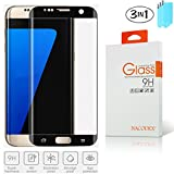 [3-Pack] Nacodex Glass For Samsung Galaxy S7 Edge [Black] HD Tempered Glass Screen Protector 0.26mm 9H Glass ([Black] For Samsung Galaxy S7 Edge)