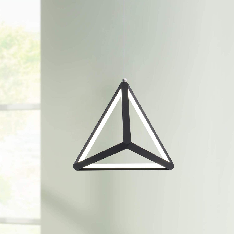 "Leniure Modern Black Triangle LED Light Pendant Lamp Chandelier Lighting Fixture 8"" Wide 8"" Deep 8"" High, Warm White 6500K"