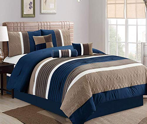 JBFF Queen 7 Piece Collection Bed in Bag Luxury Stripe Microfiber Comforter Set (Navy Blue Bed In A Bag Queen)