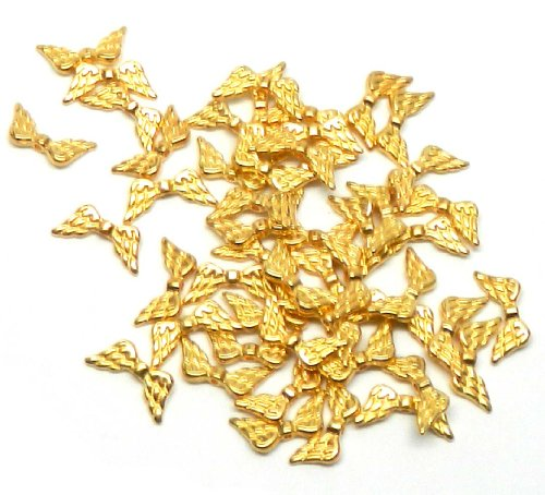 Beads Angels - Rockin Beads Brand, 48 Angel Wings Gold Plated Beads Cast Zinc Metal Beads 20x9mm