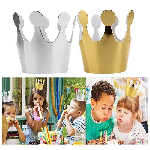 Decorate Birthday Cake (ROSENICE Kids Party Crowns Set | Paper Party Crowns | Birthday Party Hat Pack of 10)