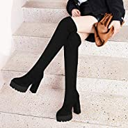 Stretch Women Over The Knee Boots, Pointed Toe Casual Lady Winter Warm Chunky Heels Thigh High Long Boots