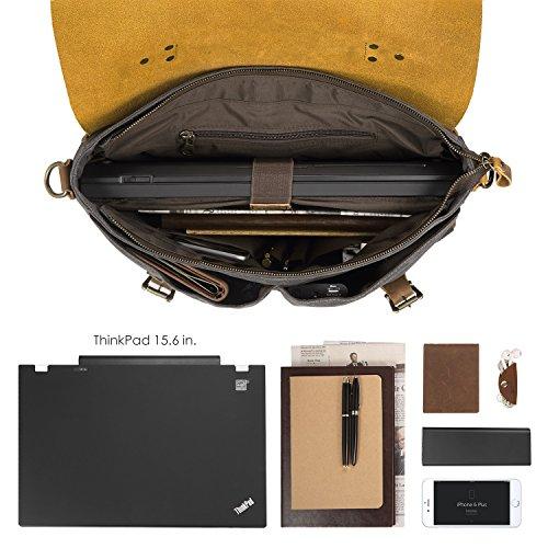 Bag Messenger Leather Folder For Smriti Thick Laptops 16 Vintage nbsp;inch Black nxwqBTRX6