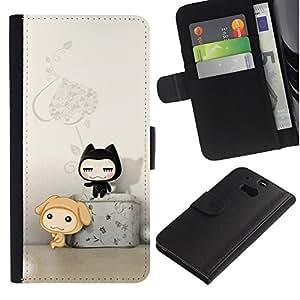 Ihec-Tech / Flip PU Cuero Cover Case para HTC One M8 - Cute Cat Friends