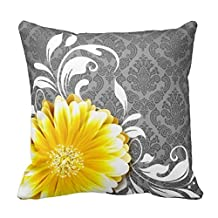 Personalized 18X18 Inch Square Cotton Pillows Gerbera Daisy Fancy Damask | Grey Yellow White Throw Pillows