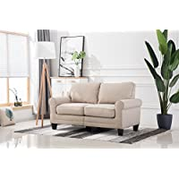 Living room sofa bedroomwith rubber wood contemporary upholstered large (72, Beige)