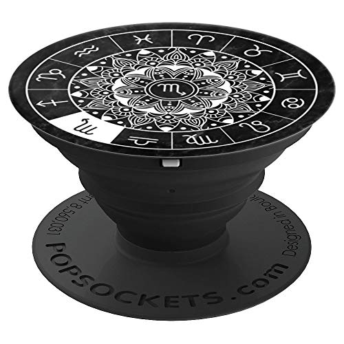 (Scorpio Zodiac Sign Astrology Mandala Wheel Horoscope Design - PopSockets Grip and Stand for Phones and Tablets)