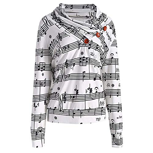 Forthery Women Casual Hoodies Sweatshirt Tops Music Note Pullover Button Tops(White,Large)
