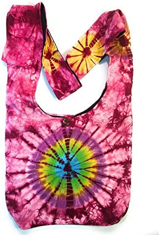 Travel Pouch Tie Dyed Fabric Colored Zipper Pouch OOAK ~ Hippie Handbag ~ Small Coin Purse ~Rose Tie Dye Pouch Festival Cotton Fleece Fabric