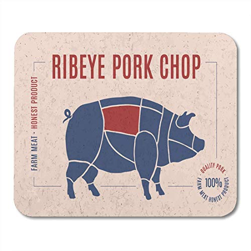 (Mouse Pads Label for Pork Steak Meat Cut Text Ribeye Chop Mouse Pad for notebooks, Desktop Computers mats Office Supplies)