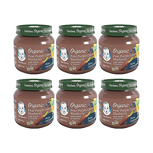 Gerber 2nd Foods Baby Food Jars, Organic Pear Purple Carrot Blueberry, 4 Ounce, Pack of 6