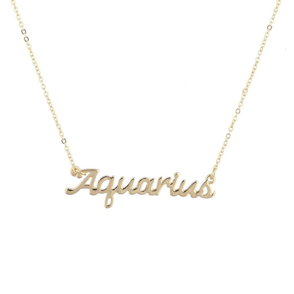 f759e1453f53e Amazon.com: Lux Accessories Horoscope Zodiac Sign Aquarius Gold ...
