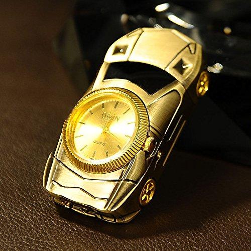 Multifunction Lighter - Multifunction Cigarette Lighter Gold Sport Car Shaped Quartz Watch For Men, Windproof Jet Torch Flame Butane Gas Lighter