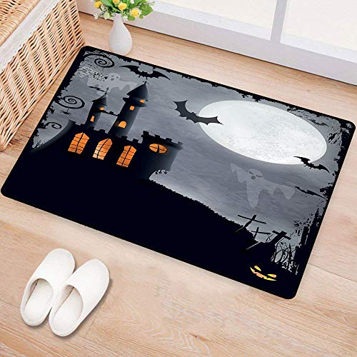 WilliamsDecor Vintage HalloweenDoor mat customizationHalloween Themed Asymmetric Caste with Scary Bats and Ghosts Full MoonHard and wear Resistant W16 xL24 Black Grey