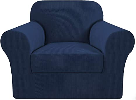 Amazon Com H Versailtex High Stretch 2 Piece Armchair Cover Sofa Chair Covers Slipcover Furniture Protector For Chairs Made Of Rich Textured Spandex Small Checks Knitted Jacquard Fabric Chair Navy Home Kitchen