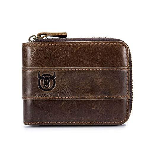 Mens RFID Antimagnetic Vintage Leather Wallet Front Pocket Coin Bag Card Holder with 11 Card Slots (Brown)