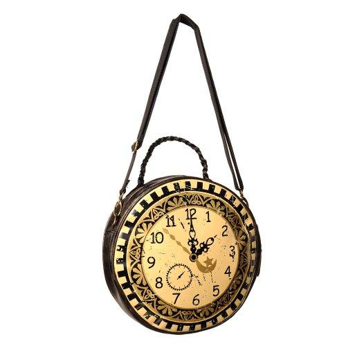 Banned Damen Schultertasche - Vintage Clock Steampunk Handtasche Braun