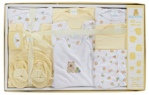 (Big Oshi 10 Piece Layette Newborn Baby Gift Set - Great Baby Shower or Registry Gift Box to Welcome a New Arrival - All Essentials - 2 Bodysuits, 4 Shirts, Bib, Pants, Booties, Cap, Yellow)