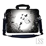 LSS 13.3 inch Laptop Sleeve Bag Notebook with Extra Side Pocket, Soft Carrying Handle & Removable Shoulder Strap for 12'' 12.1'' 13'' 13.3'' Apple MacBook Air, GW, Acer, Aspire Asus, Dell, HP, Sony, Toshiba, Samsung - Dark Contrast Fade Butterfly