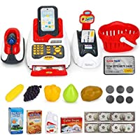 24 Pcs Simulation Classic Cash Register Toy Supermarket Cashier pretend Play Set Toy Play Role PlayHouse With Scanning Swipe and Sound